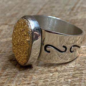 Jay King DTR 925 Sterling Silver Gold Druzy Ring